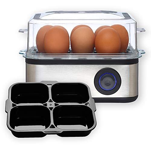 Venga. VG EK 3000 2-in-1 Eierkocher für 8 Eier, Kochen und Pochieren, Pochiereinsatz für 4 Eier, leicht zu handhabender Messbecher mit Nadel, Edelstahl, 500W