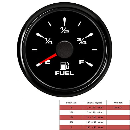 52mm Fuel Level Gauge Waterproof Fuel Tank Meters with 7 Colors Backlight Signal Adjustable 0-190ohm or 240-33ohm 0-180ohm 3/4 E-F Universal Fuel Gauge for Motocycle Yacht Boat Car Truck 9-32V