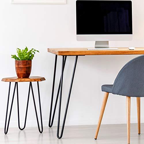 4x Haarnadel Tischbeine Möbelfuß Tischgestell Hairpin Leg Möbelfüße| SCHWARZ MATT | Höhe 35cm |2 Streben Ø 12 mm|Schalldämmung | inkl. Anti-Rutsch-Bodenschoner + Schrauben STAHLIA®