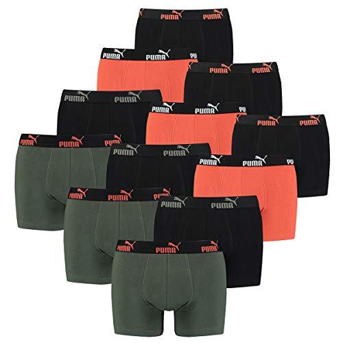 PUMA 12 er Pack Boxer Boxershorts Herren Unterwäsche sportliche Retro Pants, Farbe:Army Green, Bekleidungsgröße:XL