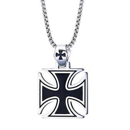 XMDNYE Herren Halskette Edelstahl Vintage Tempelritter Eisernes Kreuz Anhänger Halskette für Männer Biker Malteserkreuz Schmuck