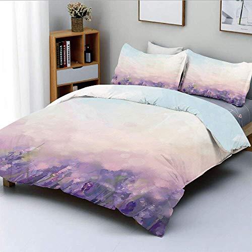 Juego de funda nórdica, flores de estilo de pintura al óleo en prados serenos Resumen artístico Conjunto de ropa de cama de 3 piezas con 2 fundas de almohada, lavanda rosa bebé azul bebé, el mejor reg