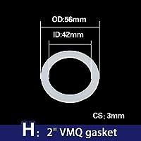 "Oリングラバーコード、 1/4"" 3/8"" 1/2"" 3/4"" 1"" 1.2"" 1.5"" 2"" ホワイトガスケット、シリコーンゴムVMQ波形ホース蛇口Oリングワッシャー (Size : VMQ (M42x56x3mm), Thickness : 5 pcs)"