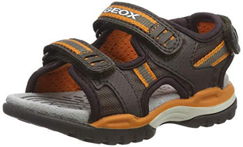 Geox J Borealis Boy D Peeptoe Sandalen, Braun (Brown/Orange C0616), 37 EU