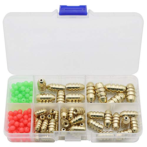 JORCC Fishing Sinkers Set with Brass Fishing Weights (50 Pcs) and Fishing Beads (100 Pcs Red/Green)