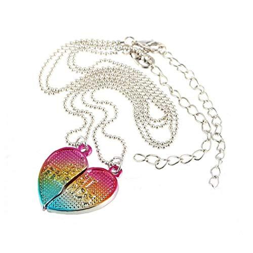 Nicetruc Colgante, Collar BFF La Mitad del corazón gradiente de Colores Mejor Amigo 2 Collar de la aleación del PCS Creativo con Cadena Moldeada
