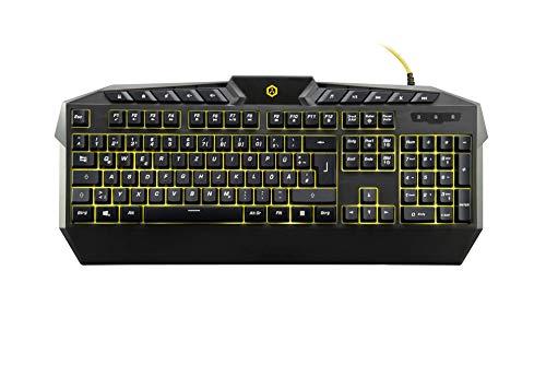 ISY - Gaming Keyboard BK Yellow LED - Gaming Tastatur mit gelber LED-Hintergrundbeleuchtung, 10 Multimedia-Tasten, schwarz
