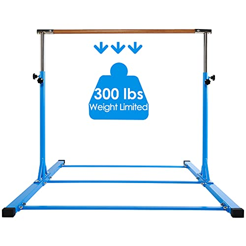 Dai&F Expandable Gymnastics Kip Bar for Kids, Junior Gymnastics Bar for Home with Fiberglass Rail & Stainless Steel Regulating Arms, Adjustable Height 3'-5', 300 lbs Weight Capacity