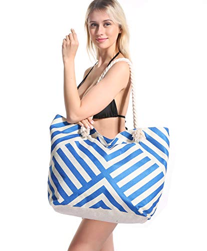 Women Beach Tote Bag Pool - Extra Large Big Weekender Canvas Cotton Rope Drybag With Zipper Summer (Not Straw Mesh) tone Blue Stripe