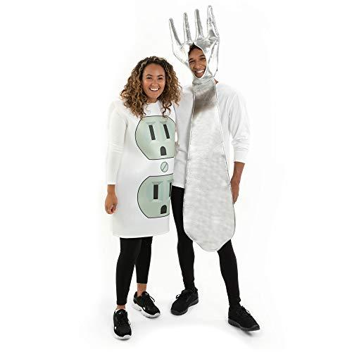 funny halloween costumes Electrifyin' Fork & Socket Couples Costumes - Funny Adult Halloween Costume Set