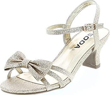 Soda Girls Girly-2 Metallic Glitter Open Toe Bow Slingback Small Block Heel Sandals,Gold Glt,2