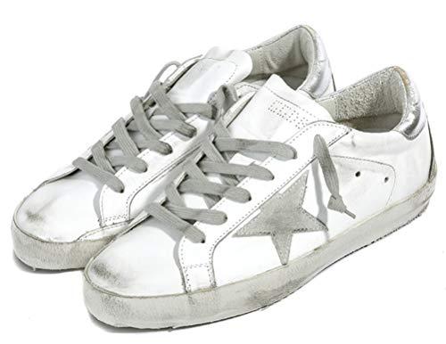 Zapatillas de deporte de las mujeres de cuero antideslizantes zapatos casuales de la parte superior baja, color Plateado, talla 42 EU