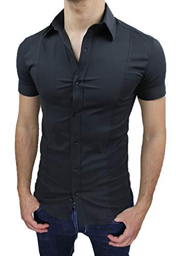 AK collezioni Camicia Uomo Slim Fit Nero Aderente Elasticizzata Manica Corta Casual (L)