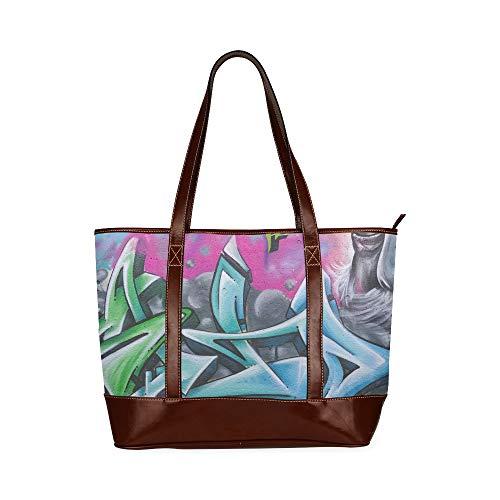 Graffiti Image Art Wandfarbe Gemälde Kunstwerk Umhängetaschen Für Mädchen Schulter Strandtasche Große Kapazität Gedruckte Tägliche Einkaufstasche Mit Reißverschluss Oberer Griff