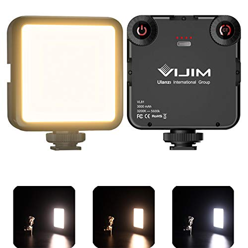 VIJIM LED Video Light, VL81 On Camera Light with 3 Cold Shoe Rechargeable 3000mAh Battery Bicolor Dimmable 3200K-5600K CRI95+ Portable Photography Photo Lighting Panel for YouTube DSLR Camcorder Vlog