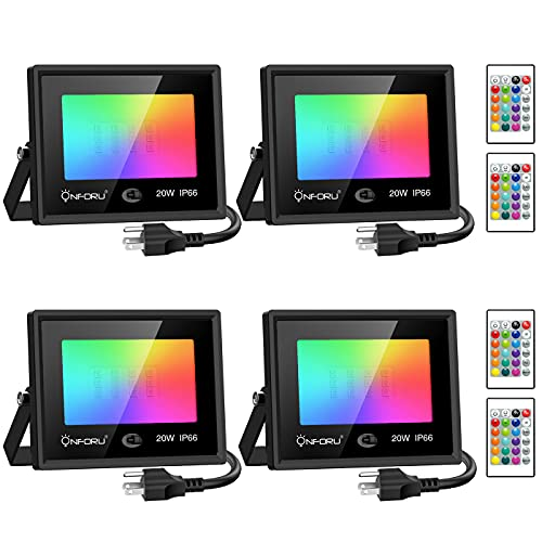 Onforu 20W RGB Flood Light, Color Changing LED Flood Light with Remote, IP66 Waterproof Outdooor Floodlight, Dimmable Strobe Uplighting indoor for Stage, Party, Wall Wash, Landscape, Garden, 4 Pcs