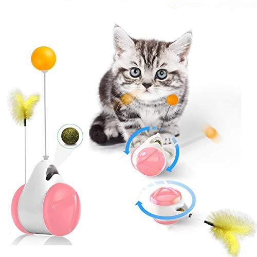 Luckybrosis Katzenspielzeug Indoor-katzenspielzeug Tumbler-Balance-Bikes Mit Federn Und Bällen 2 Und 1 Interaktives Katzenminzenspielzeug Für Katzen (Pink)