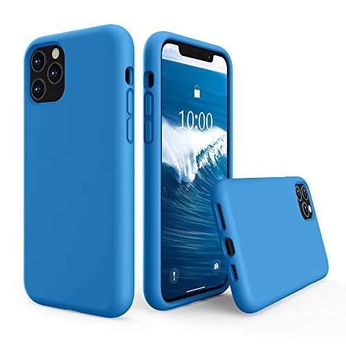 SURPHY Funda Silicona para iPhone 11 Pro MAX, Carcasa con Superfino Pelusa Forro, Funda para Silicona Líquida Teléfono Anti-rañazos de 6.5 Pulgadas para iPhone 11 Pro MAX, Surf Azul