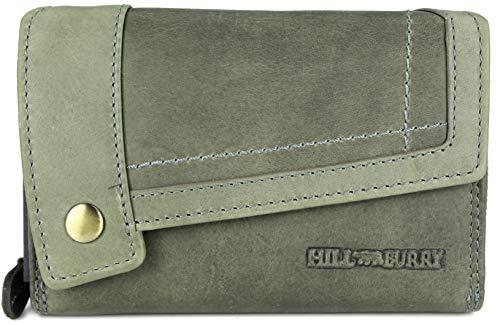 Hill Burry hochwertige Vintage Leder Damen Geldbörse Portemonnaie Dickes und kompaktes Portmonee Geldbeutel aus weichem Leder in grau - 14,5x10x5cm (B x H x T)