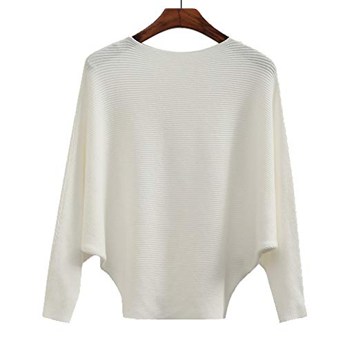 Women's Fashion Winter Tops Cashmere Sweaters Batwing Casual Jumper Female White