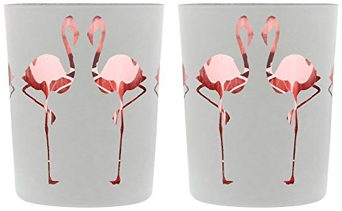 Flamingo Design Set of 2 Glass Candleholder