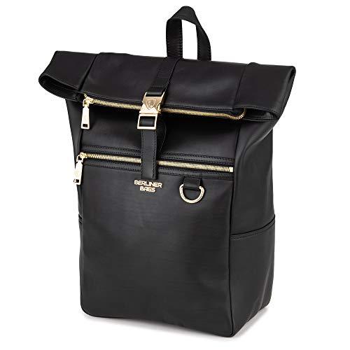 Berliner Bags Premium Rucksack Harlem Gold aus echtes Vollnarbiges Leder mit Laptopfach Kurierrucksack Fahrradrucksack Wasserdicht Damen Frauen Schwarz Groß
