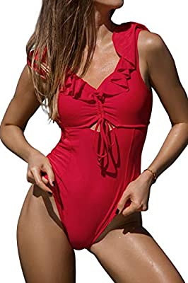 CUPSHE Women's Ruby Red Ruffled Back Tie One Piece Swimsuit Medium
