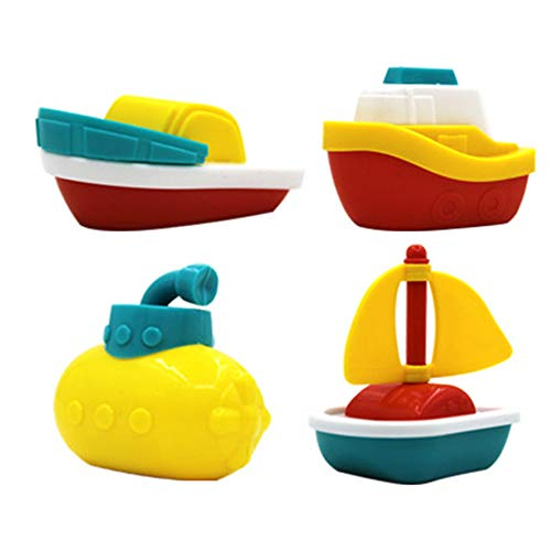 Amasawa 4 Stück Bad Spielzeug Schwimmboote,Badespielzeug Badezeit Schwimmboot Plastikschiff Modell für Kleinkinder Kinder, Jungen und Mädchen