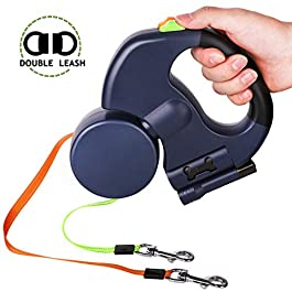 HOLD U FUN Double Dog Leash Lead – 360°No Tangle Retractable Pet Leash for Walking 2 Dogs – Up to 50lbs Each 10ft with Anti-Slip Handle, Bright Flashlight and Waste Bag Dispenser