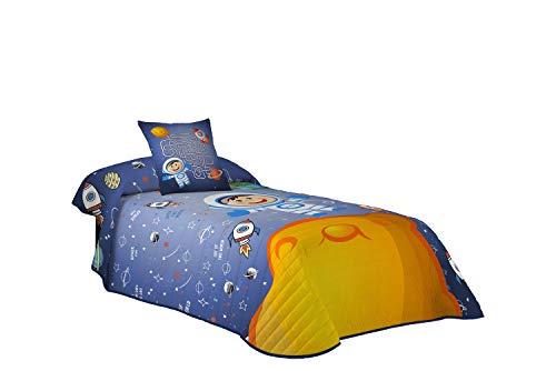 Montse Interiors S.L - Colcha Boutí par Niño y Niña Dibujo Astronauta y Planetas, Space para Cama de 180x260