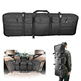 42 Inch Tactical Rifle Case Double Gun Bag for Scoped Rifles Backpack Carrying Locking Soft Gun Bag Fits Truck SUV Pickup Vehicle Seat Back Hunting Equipment Storage and Transport