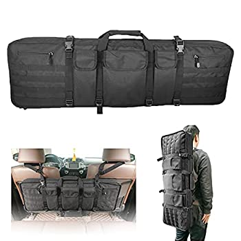 36 Inch Tactical Rifle Case Double Gun Bag for Scoped Rifles Backpack Carrying Locking Soft Gun Bag Fits Truck SUV Pickup Vehicle Seat Back Hunting Equipment Storage and Transport