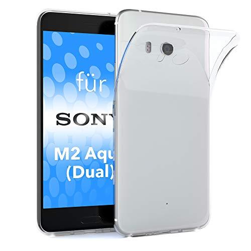 EAZY CASE Hülle kompatibel mit Sony Xperia M2 Aqua Dual Schutzhülle Silikon, Ultra dünn, Silmcover, Handyhülle, Silikonhülle, Backcover, Durchsichtig, Klar Transparent