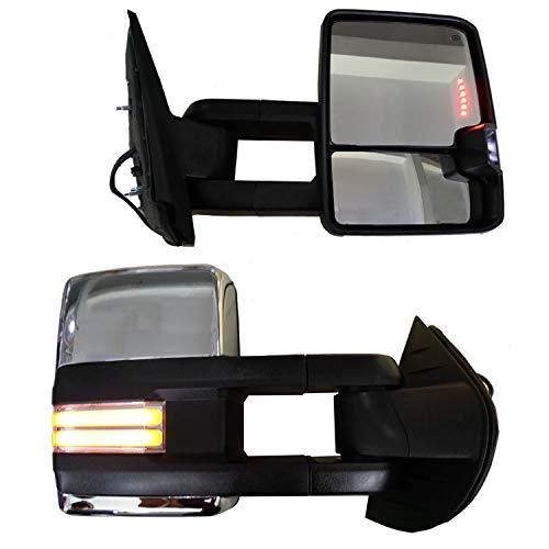 Best Deals! AOKAILI Power Heated Backup+Smoke LED Turn Chrome Tow Mirror