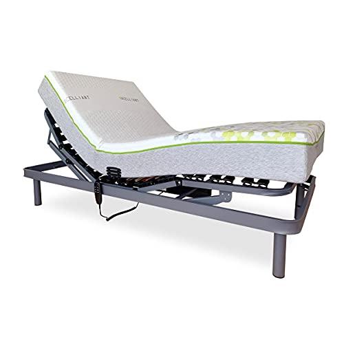 Duérmete Online Cama Eléctrica Articulada Reforzada Ergomax + Colchón Viscoelástico Fisiocare One Celliant, HR + 5cm, Gris, 90x190