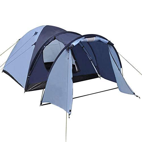 lahomie- Tienda de campaña ligera e impermeable para 4 personas, color azul, tienda de campaña para 4 personas, para camping, playa, 4 plazas, tienda familiar al aire libre, 330 x 210 x 130 cm