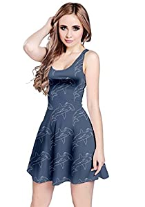 CowCow Womens Blue Hammerhead Shark Sleeveless Dress, Blue - S