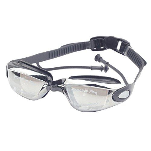Adultos de placas antiempañamiento a prueba de agua natación ajustable gafas de gimnasia Gafas ajuste cómodo con tapones para los oídos estilo unisex para hombres mujeres