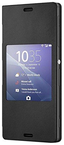 Sony Hülle Case Cover mit Fenster Window Kompatibel mit Xperia Z3 Smartphone - Schwarz