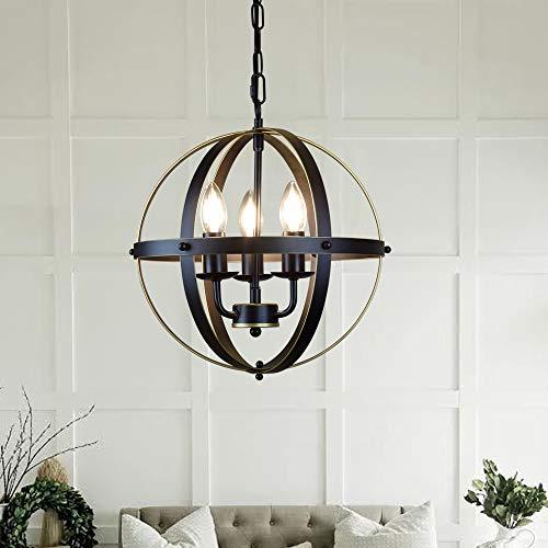 Depuley - Lampadario industriale a sospensione, stile vintage, in metallo dorato, con sfera a globo, attacco E14, per sala da pranzo e salotto, 3 lampadine non incluse, diametro 32 cm