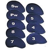 Accesorios de Golf Cubiertas de palos de golf Cubiertas de hierro 10Pcs Número de cuello largo Planchas de impresión Cubiertas de cabeza Set Funda protectora para Entusiastas del Golf ( Color : Navy )