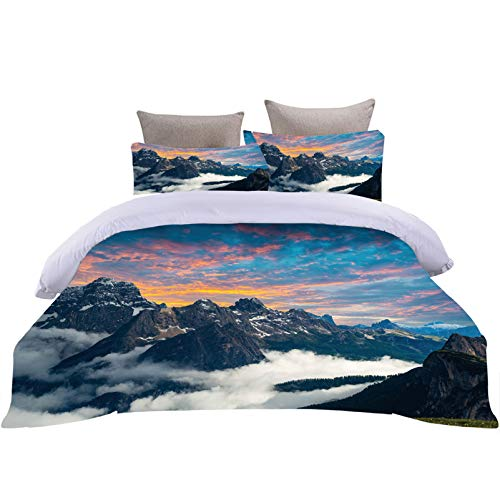 Natural Scenery Bedding Set Colorful Sunset Beach Coconut Tree Blue Glacier White Snow Plateau Mountain Print Duvet Cover with Pillow Cover Bedspreads Quilt (Style 1,Single 135 X 200 cm)