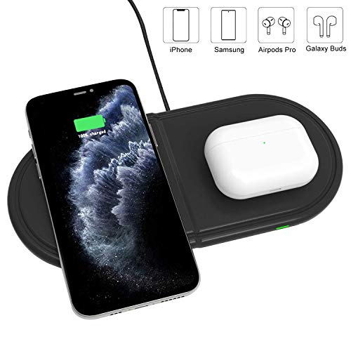 Kdely Dual Wireless Charger 10W Qi Schnellladegerät Kabelloses Ladegerät Wireless Charger für iPhone SE 2020/11/11Pro Max/XS/Airpods Pro/2/Samsung Galaxy Buds/S20 Ultra/Huawei P40 Pro