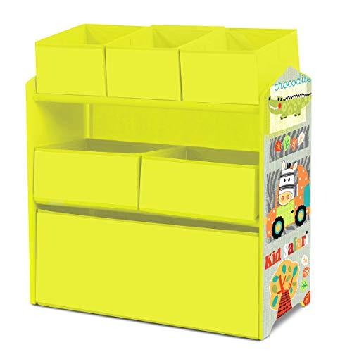 Lalaloom SWEET LUGGI - Estanteria infantil de madera multicolor habitación niños mueble multifuncional almacenaje con 6 cajas de tela para juguetes 63x30x60cm