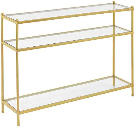 Best Convenience Concepts Royal Crest Console Table, Clear Glass / Gold