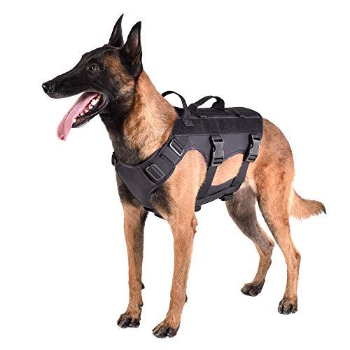 "ICEFANG GN6 Patrol Tactical Dog Harness 7 Points Adjustable K9 Walking Training Vest Hook and Loop Panels (L (Neck 18""-24""; Chest 28""-35""), Black)"