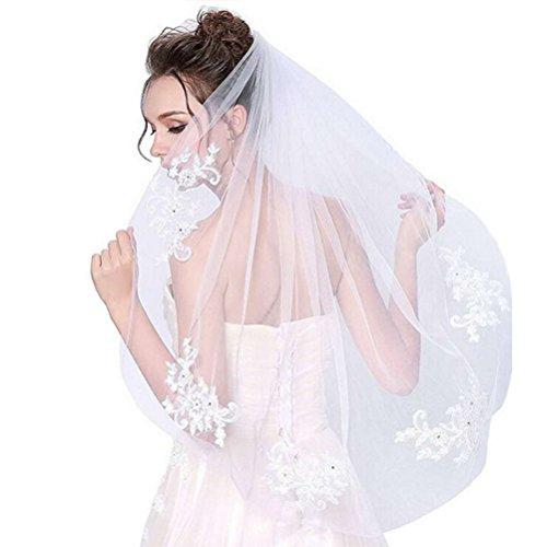 Frcolor Bridal Veil Court de mariage avec appliques de dentelle et Elegent Crystal perlé (blanc cassé)