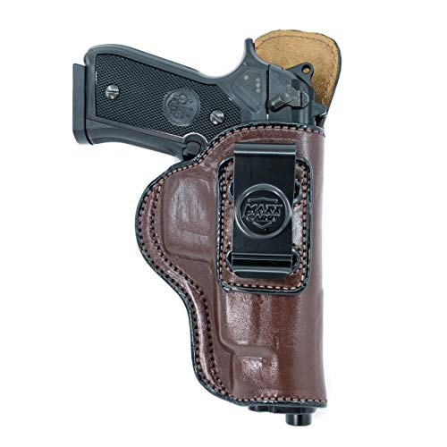 Maxx Carry IWB Leather Gun Holster Compatible with Glock G34 9mm | Beretta 92 F, 92 FS, 92 A1, M9 A1, 96 A1, 96 FS | Springfiel XDM 4.5 and 5.25 inch | Taurus 92, Brown, Right Hand Draw