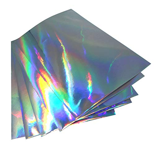 (28,80€/m²) Din A4 Bogen Bastelfolie Selbstklebend Künstlerfolie Plotterfolie Plottfolie Hologramm Glitzer Folie Basteln DIY (Silber Hologramm, 5er Set Din A4 Bögen)