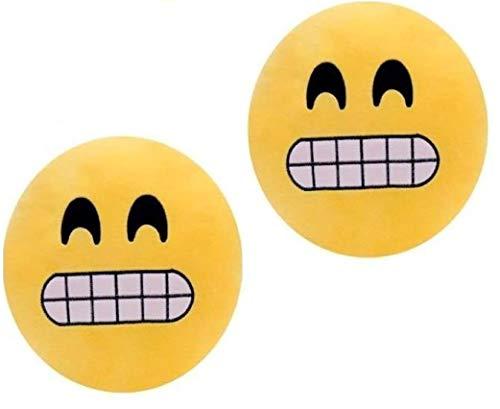 ML Pack 2 x Cojín Emoji gruñon, Almohada Emoji Emoticon Relleno Suave Juguete de Peluche 35x35x5cm Cada uno (Amarillo-gruñon)
